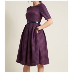 Modcloth plaid retro style fit and flare dress